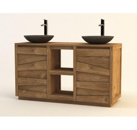 Meuble de Salle de Bain TECK Massif  GROOVY - Mobilier de salle de bain - Meubles bois - Lecomptoirdesauthentics