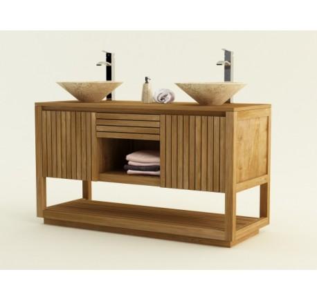 Meuble KINARA Salle de Bain TECK massif double vasque - Mobilier de salle de bain - Meubles bois - Lecomptoirdesauthentics