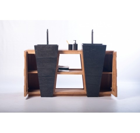 Meuble SENANDUNG Noir Salle de Bain Teck Massif