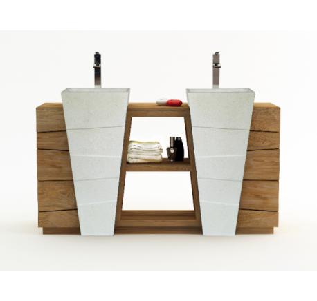 Meuble SENANDUNG Blanc Salle de Bain Teck Massif - Mobilier de salle de bain - Meubles bois - Lecomptoirdesauthentics