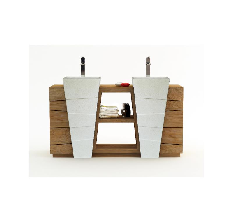 meuble senandung blanc salle de bain teck massif. Black Bedroom Furniture Sets. Home Design Ideas