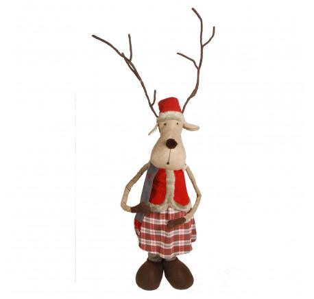 Figurine Elan de Noël Debout Femelle téléscopique 190cm - Décoration de Noël  - Lecomptoirdesauthentics