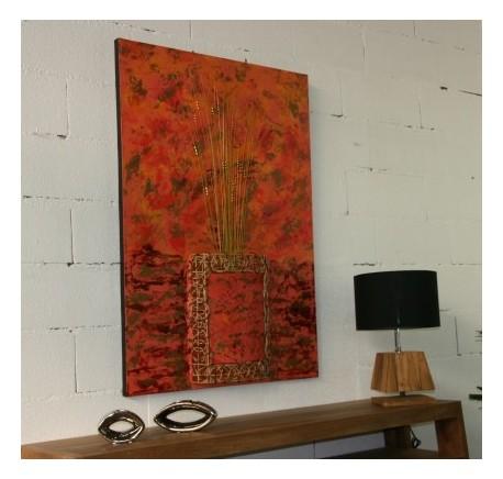Toile LAMPE Vase Relief Peint à la main  - Cadre, miroir, tableau - Objet déco Maison - Lecomptoirdesauthentics