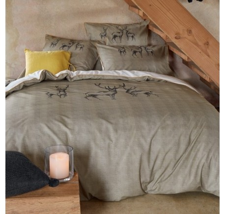Parure de Lit SYLVIE THIRIEZ Collection  LES 7 VALLEES Housse de Couette + 2 Taies - Linge de lit - Chambre à coucher - Lecomptoirdesauthentics