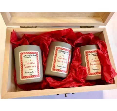 Coffret CARAMEL BEURRE SALE 3 bougies vitré 35 gr LA CHANDELIERE