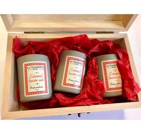 Bougies 3x35g Senteur Caramel Beurre Salé - Coffret vitré LA CHANDELIERE - Bougie, senteur, bien-être - Lecomptoirdesauthentics