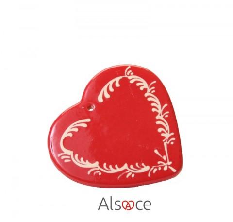 Coeur à suspendre Rouge Déco en Poterie ALSACE 8cm
