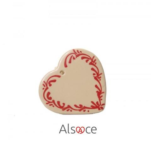 Coeur à suspendre Naturel Poterie ALSACE 13cm