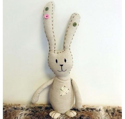 Grand Lapin de Pâques en tissu beige