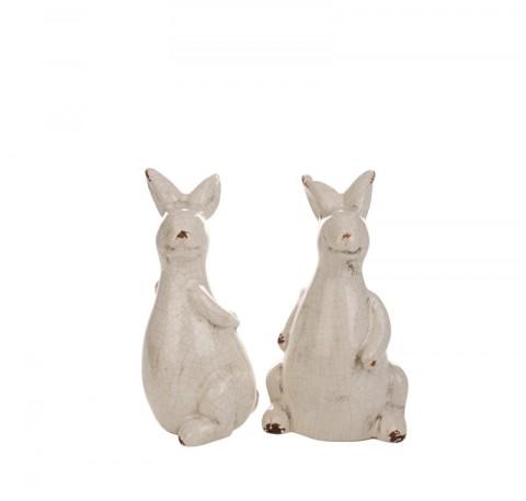 Set 2 Lapins de Pâques en Céramique debout et assis