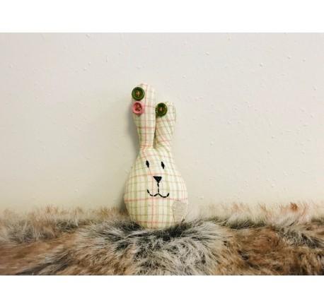 Mini Lapin de Pâques Déco en tissu à carreaux - Objets déco maison - Lecomptoirdesauthentics