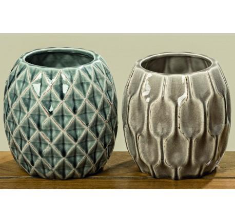 Set 2 Vases LENJA en Grès H14cm - Vase - Lecomptoirdesauthentics