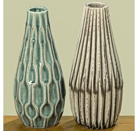 Set 2 Vases LENJA en Grès H23cm - Vase - Lecomptoirdesauthentics