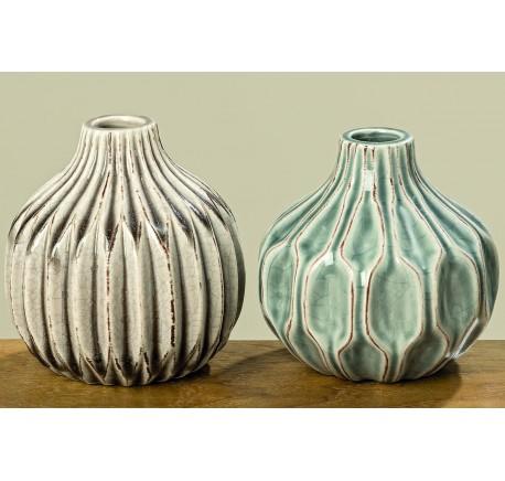 Set 2 Vases LENJA en Grès H11cm - Vase - Lecomptoirdesauthentics
