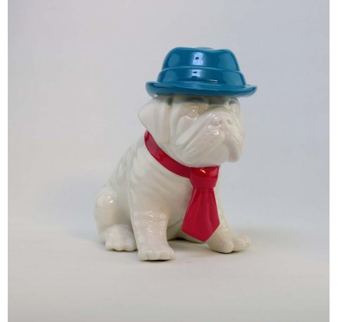 Chien Bulldog Chapeau Bleu Cravate Rose ARTY