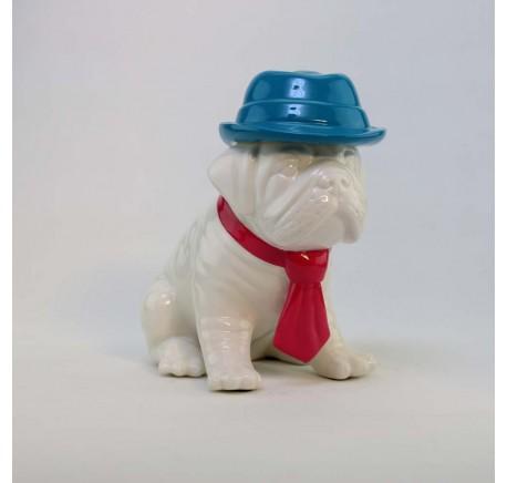 Chien Bulldog Chapeau Bleu Cravate Rose Statuette ARTY - Figurines, statuettes - Lecomptoirdesauthentics