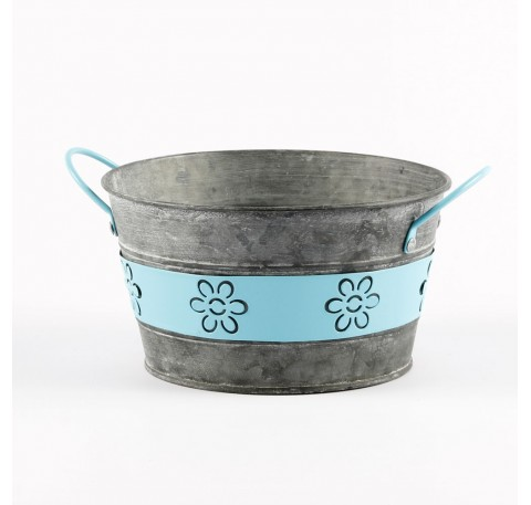 Grands Pots Fleurs Jardins Forme Ronde Métal Bleu