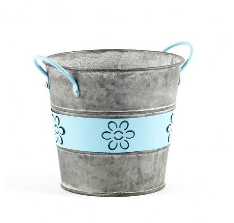 Pot de Fleurs Vase Forme Ronde Métal Bleu