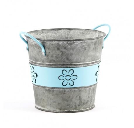 Pot de Fleurs Vase Forme Ronde Métal Bleu - Vase - Lecomptoirdesauthentics