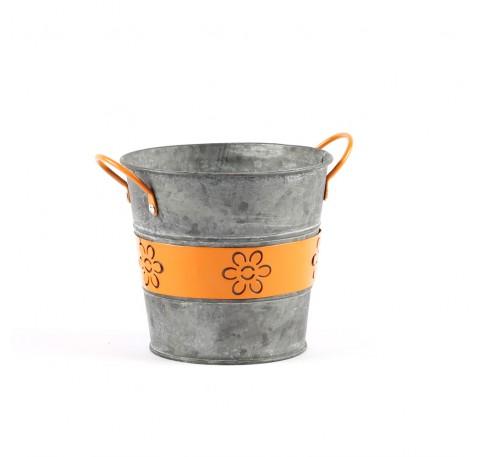 Pots Fleurs Jardins Forme Ronde Métal Orange