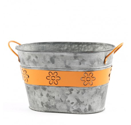 Pot de Fleurs Vase Ovale Métal Orange - Vase - Lecomptoirdesauthentics