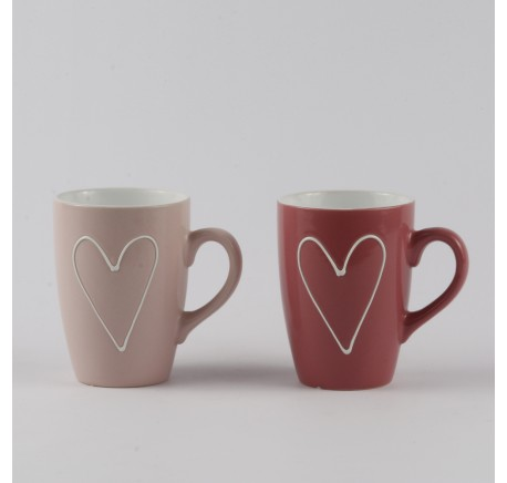 Lot de 6 Mugs Coeurs Rose et Fuschia. - Vaisselle - Lecomptoirdesauthentics