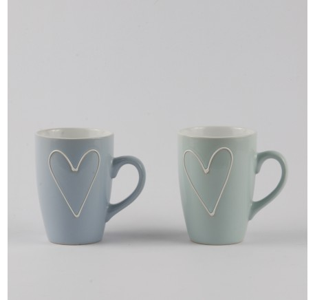 Lot de 6 Mugs COEUR Bleu et Vert. - Vaisselle - Lecomptoirdesauthentics