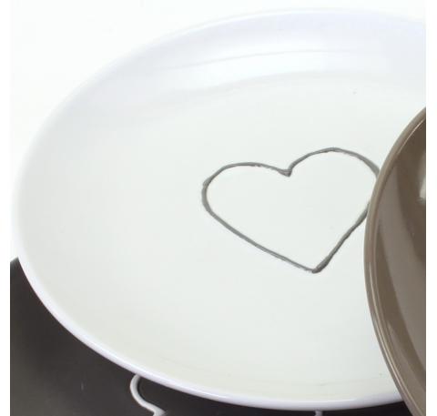 Assiette à dessert motif coeur Blanc
