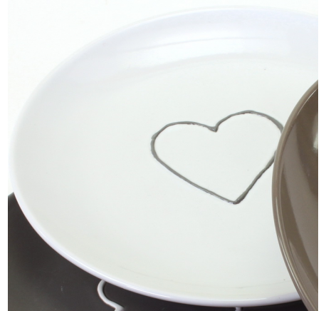 Assiette à dessert motif coeur Blanc - Vaisselle - Lecomptoirdesauthentics