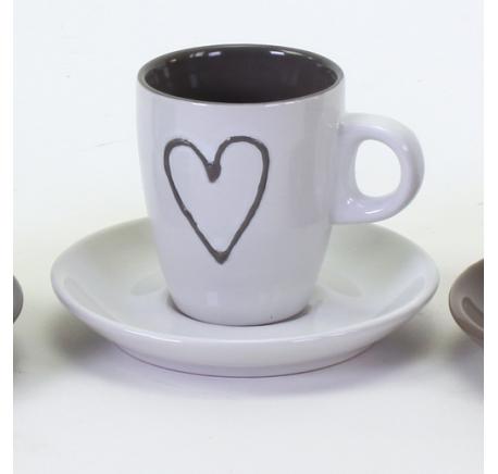 Tasse Expresso avec sa Sous-Tasse  Blanc - Vaisselle - Lecomptoirdesauthentics