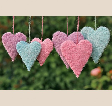 Cœurs tissés à suspendre en feutrine Lot de 3 - Objet de décoration - Objets déco maison - Lecomptoirdesauthentics