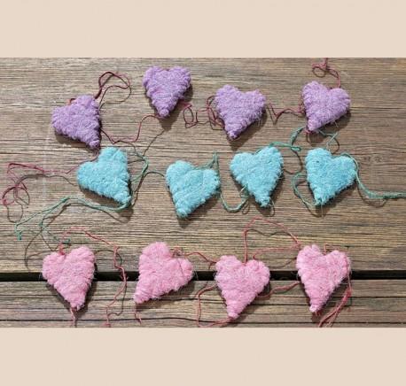 Guirlande feutrine cœur bleu Objet de décoration - Objets déco maison - Lecomptoirdesauthentics