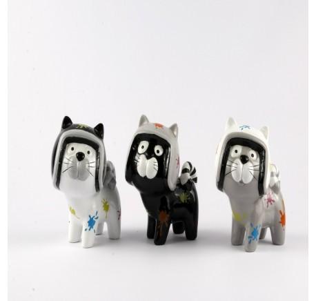 Lot de 3 Chats statuette FUNKY avec casque - Figurines, statuettes - Lecomptoirdesauthentics