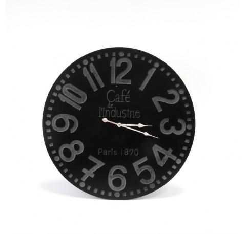 Horloge Vintage ronde murale CAFE DE L'INDUSTRIE en bois