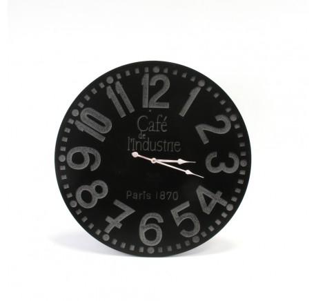 Horloge Vintage ronde murale CAFE DE L'INDUSTRIE en bois. - Horloge - Lecomptoirdesauthentics