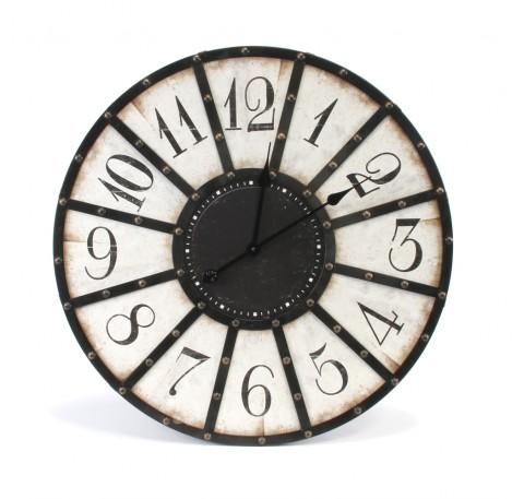 Horloge ronde murale métal Noir et Blanc