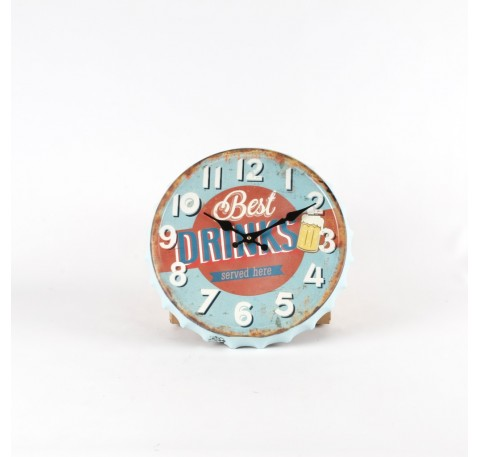 "Horloge murale style capsule bleu et orange ""best drinks"""