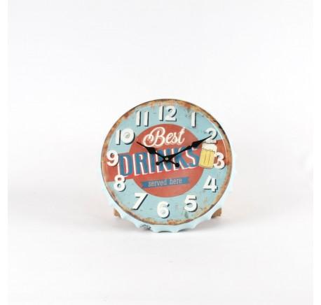 Horloge murale style capsule bleu et orange