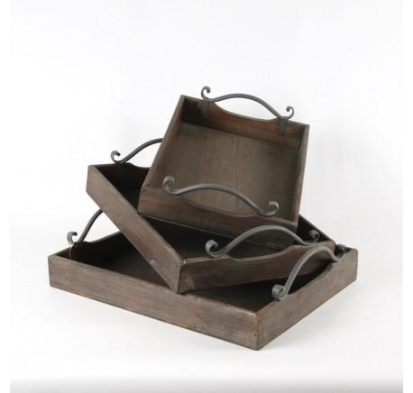 Set de 3 plateaux bois anses métal -  - Lecomptoirdesauthentics