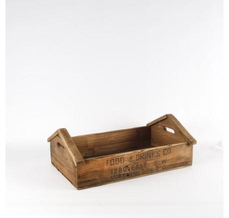 Plateau Vintage en bois façon vieille caisse