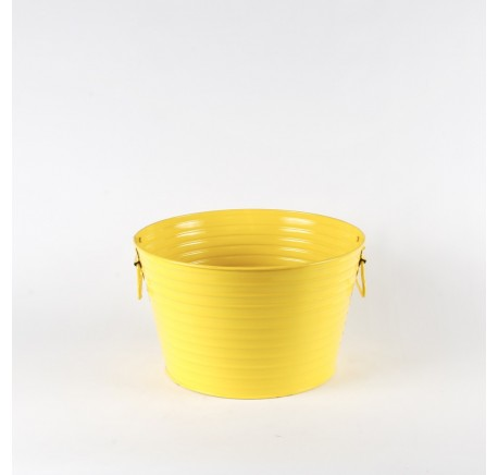 GRAND CACHE POT A PLANTE LAQUE JAUNE - Vase - Lecomptoirdesauthentics