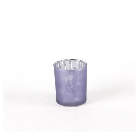 Photophore en Verre Laqué Fleurs MAUVE 8 cm - Lanterne - Lecomptoirdesauthentics