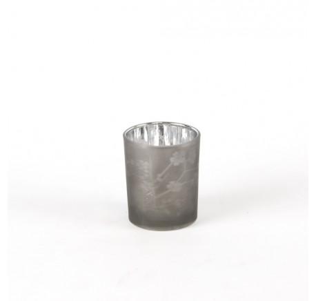 Photophore en Verre Laqué Fleurs NOIR 8 cm - Lanterne - Lecomptoirdesauthentics
