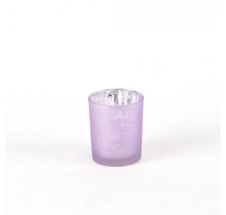 Photophore en Verre Laqué Fleurs VIOLET 8 cm - Lanterne - Lecomptoirdesauthentics