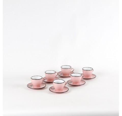Service Tasses café Expresso VINTAGE avec sous tasses Rose Lot de 6