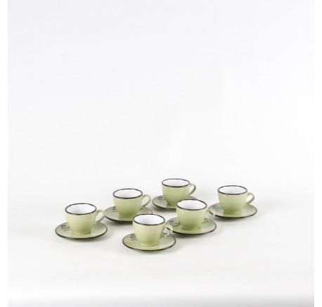 Service Tasses Café Expresso VINTAGE avec sous tasses Vert Lot de 6 - Vaisselle - Lecomptoirdesauthentics
