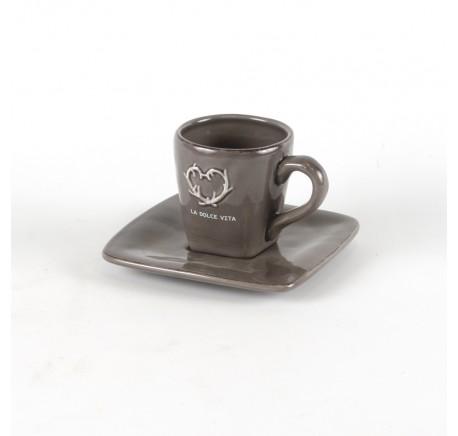Tasse à Café Espresso en céramique anthracite DOLCEVITA - Vaisselle - Lecomptoirdesauthentics