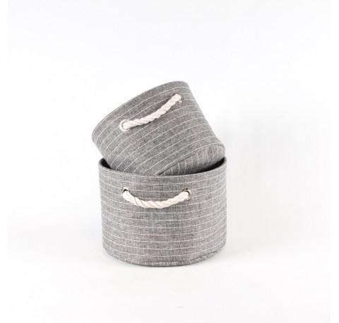 Set de 2 paniers de rangement fonds tissu gris fines rayures