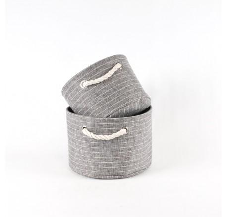 Set de 2 paniers de rangement ronds tissu gris fines rayures. - Objets déco maison - Lecomptoirdesauthentics