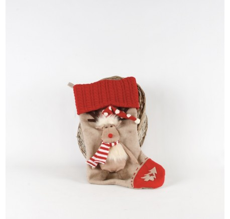 Chaussette Renne décoration de Noël 51cm. - Décoration de Noël  - Lecomptoirdesauthentics